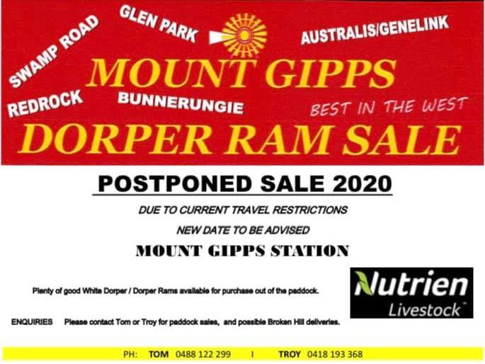 Mt Gipps Ram Sale Postponed